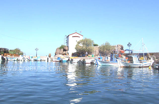 The fishing village of Skala Skamia East from Molivos